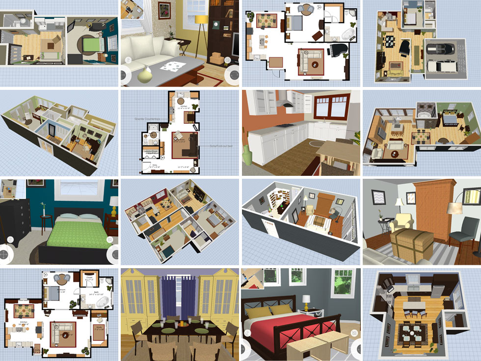 Preview of different sample plans available for Room Planner